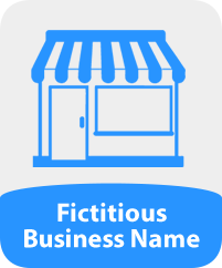 Image of a store and the words 'Fictitious Business Name'