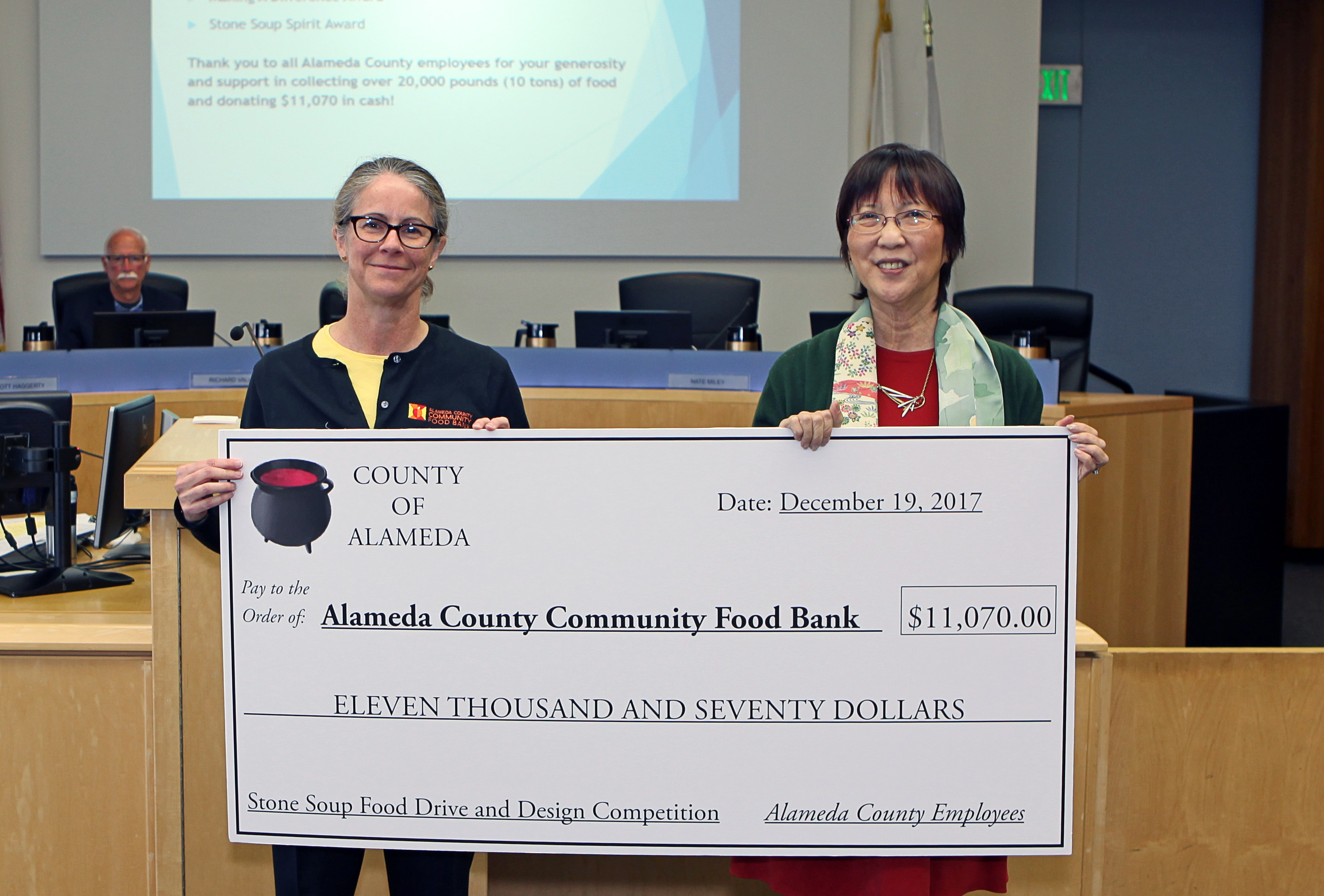 Supervisor Wilma Chan presented Alameda County Food Bank with $14,000 check today to culminate record-breaking Stone Soup Food Drive.