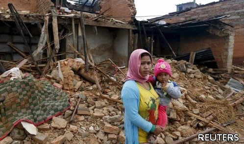 Photo showing devastation in Nepal.