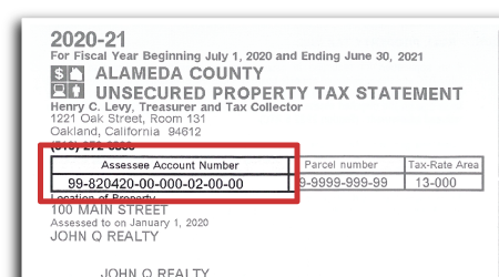 Image of property tax bill showing location of the parcel and tracer numbers.