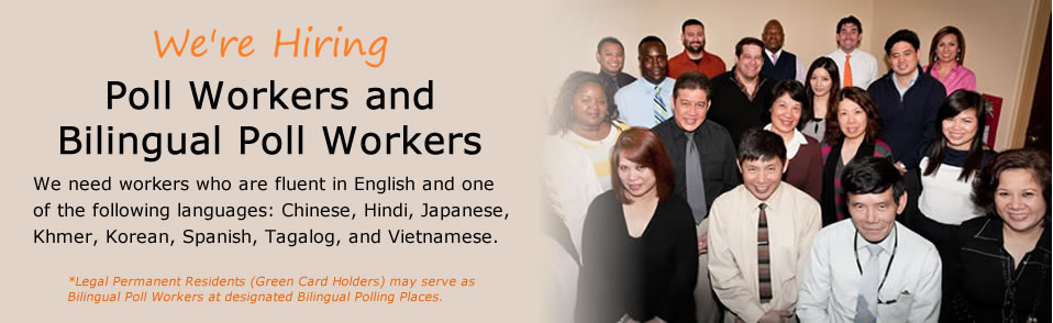 Photo of a diverse group of people. Ad says that the Registrar of Voters Office is hiring bilingual poll workers.