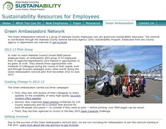 Screen capture of Green Ambassadors intranet page.