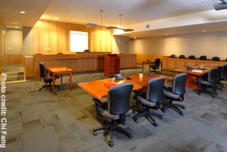 Photo of a Juvenile Justice Center courtroom.