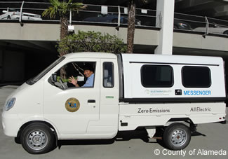 Photo of County all-electric messenger van.