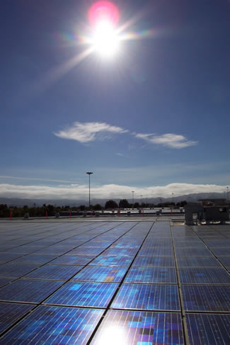 Photo of solar panels atop Santa Rita Jail.