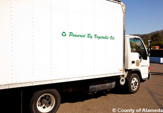 Photo of a County truck that is powered by used vegetable oil.