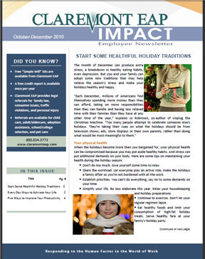 Impact newsletter page
