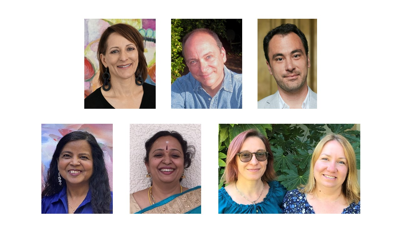 Images of the 2020 Alameda County Arts Leadership Award Recipient Top Row (left to right): Jean Marie Durant, Ron Lytle, and Michael Socrates Moran Bottom Row (left to right): Usha Shukla, Anuradha Suresh, and the team of Tetiana Taganska and Olga Tymoshchuk