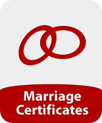 Image of two wedding rings and the words 'Marriage Certificate'