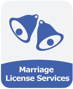 Image of two wedding bells and the words 'Marriage License Services'