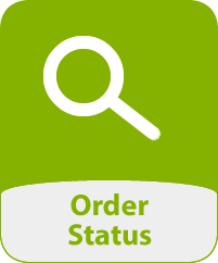 Image of a magnifying glass and the words 'Order Status'