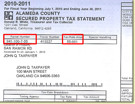 Image of property tax bill showing location of the Tax Rate Area.