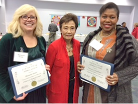 Photo of Veronica Ufoegbune, Council Chair and Margaret jerene, Council members, along with Susan Muranishi, County Administrator