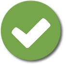Green circle with a white checkmark inside representing being prepared.