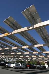 Picture of solar panels over a County carport.