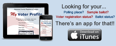 Ad for the My Voter Profile app on iTunes.