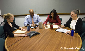 Photo of a teleconference meeting.